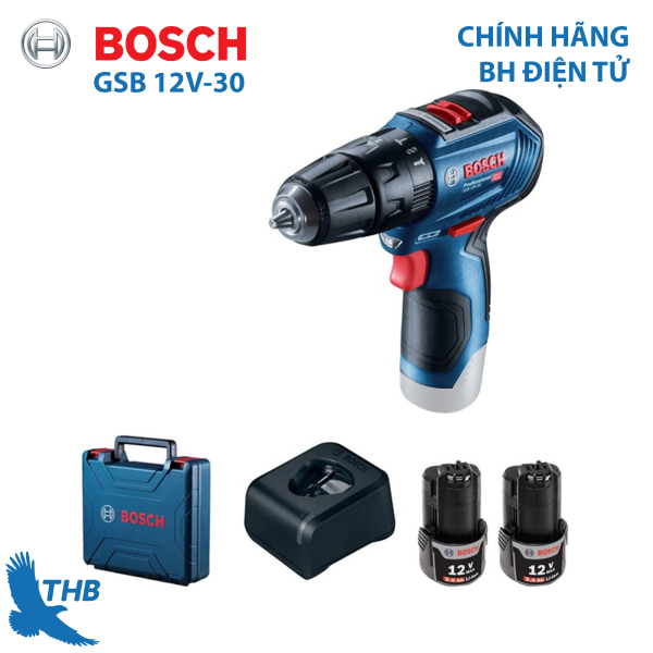 [Trả góp 0%] Máy khoan bắt vít dùng pin Bosch GSB 12V-30 Nhiều tính năng nổi bật kết quả chính xác Động cơ không chổi than