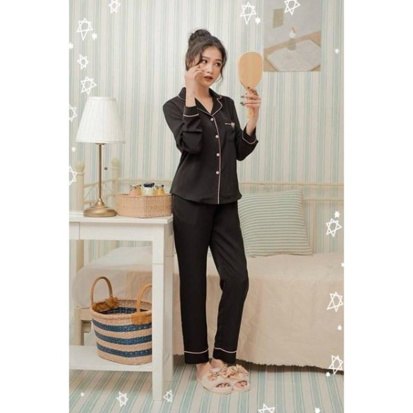 đồ bộ pizama dài set pijama Kate lụa không bóng D493 không ra màu, không phai màu. Vải đẹp không co rút, mềm mịn, mặc siêu mát
