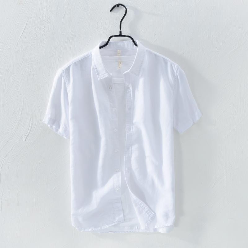 4ffeea7047 Small Clear New Asia Linen Shirt Men s Short Sleeve Leisure Versatile Trend Loose  Cotton Linen Half