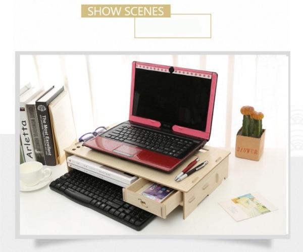 Bảng giá Bàn kê màn hình máy tính Monitor Laptop đa năng bằng gỗ ghép tiện dung có khe tản nhiệt và hộc tủ 2019 Phong Vũ
