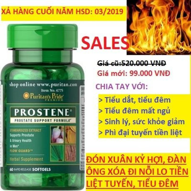 Viên uống hỗ trợ tiền liệt tuyến, giảm tiểu dắt, tiểu đêm Puritans Pride Premium Prostene Prostate Support Formula 60 viên HSD tháng 03/2019