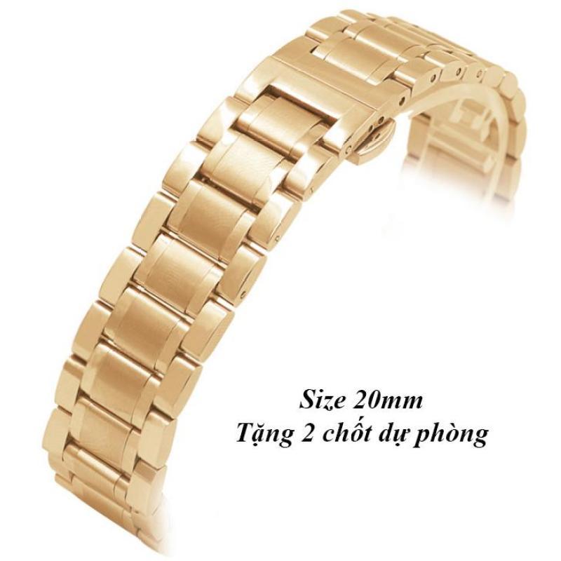 Dây đeo đồng hồ thép không gỉ đúc đặc size 20mm (Vàng)