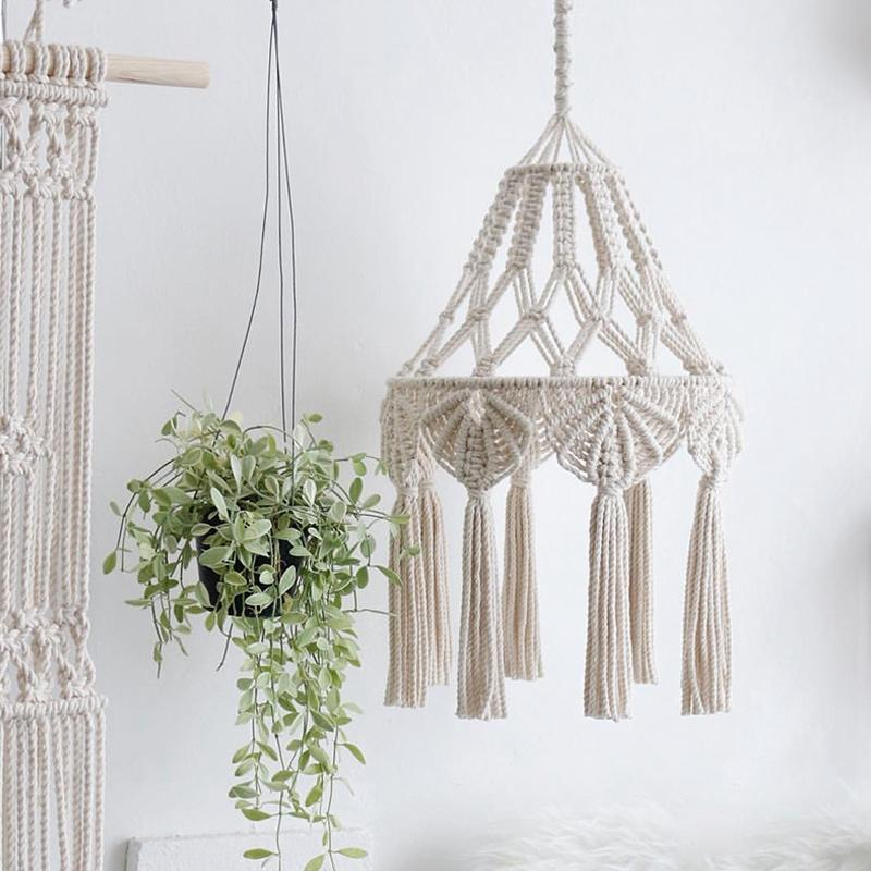 Bohemian Macrame Wall Hanging Ins Style Hand-Woven Tapestry Girl Heart Bedroom Living Room Nordic Chandelier Cover Decoration Giá Siêu Rẻ
