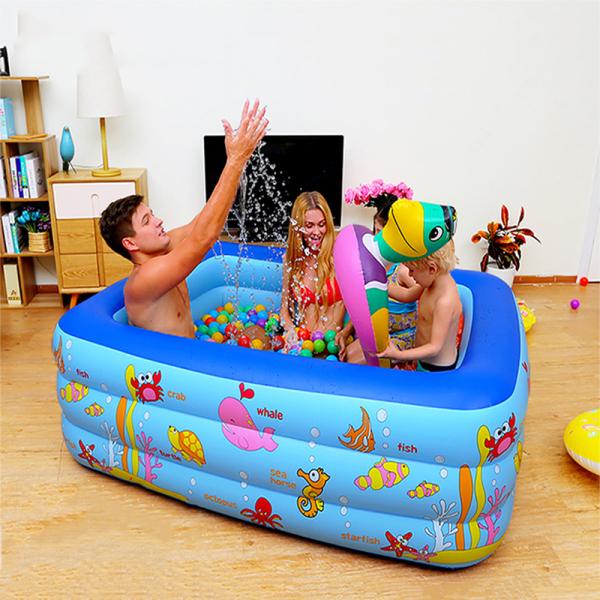 [ SALE  50% BỂ BƠI ] Bể bơi phao trẻ em Bể bơi mini cho bé trai Bể bơi phao 3 tầng cỡ lớn cho bé và gia đình 2M1x 145 x 60 cm. loại dày dặn có tặng kèm( bơm hơi + miếng vá )