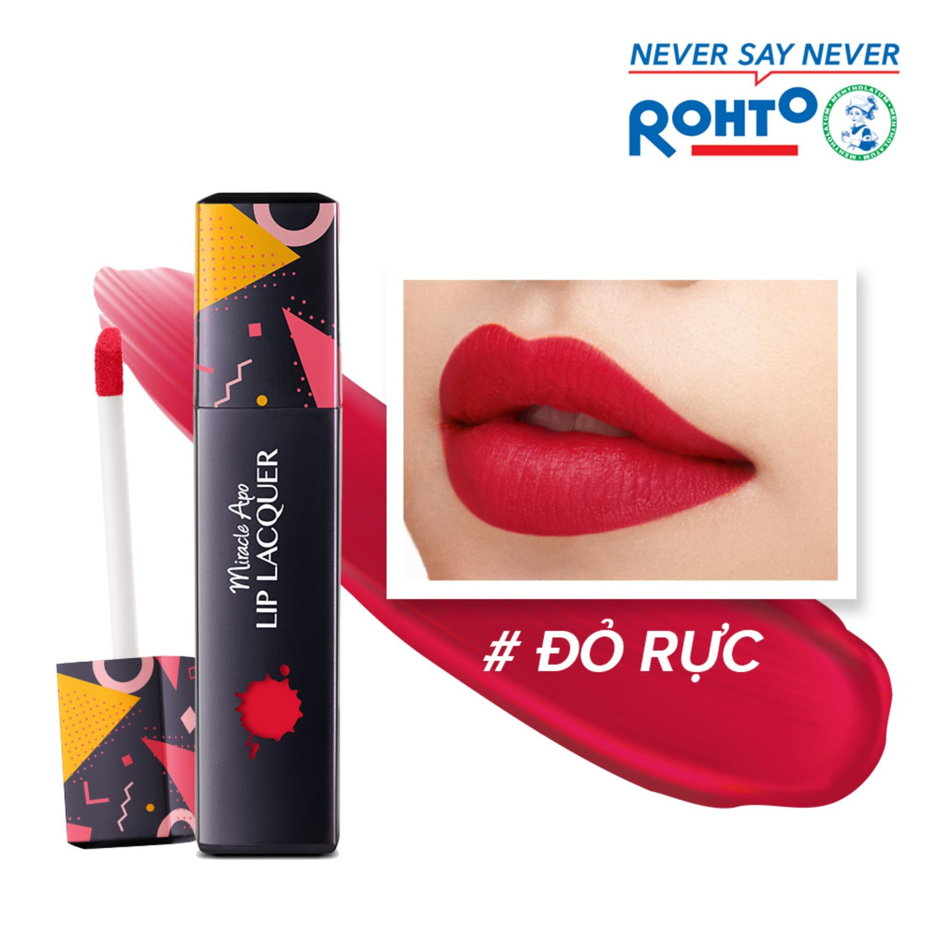 Son kem lì Miracle Apo Lip Lacquer Matte True Red 3ml (Đỏ rực)