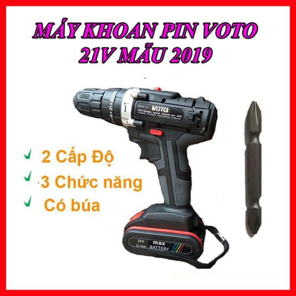 Máy Khoan Pin 21V VOTO Hai Tốc Độ 3 Chức Năng Tặng Đầu Vit Mũi Khoan Mẫu 2019,Máy Khoan Pin VOTO