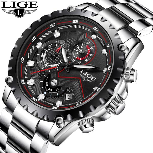 LIGE Đồng hồ nam  Thời trang Thể thao Chronograph Không thấm nước Sáng Tự động Lịch Analog Quartz Man Đồng hồ bán chạy