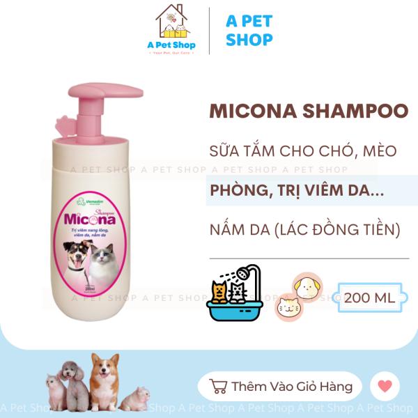 Sữa tắm cho chó mèo bị nấm da, viêm da, ngứa ngáy, rụng lông, khử mùi hôi Micona Shampoo 200ml Vemedim - sữa tắm chó mèo a pet shop