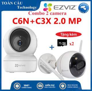 [100% CHÍNH HÃNG] Combo Camera WIFI EZVIZ C6N Độ Phân Giải 2MP + C3X Độ Phân Giải 2MP Tặng Kèm 2 Thẻ Nhớ 32GB - Camera Toàn Cầu thumbnail