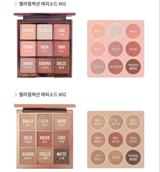 Bảng phấn mắt nhũ và lì , 9 màu cao cấp Hàn Quốc - CELEFIT The Bella Collection giá rẻ
