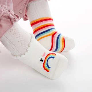 I LOVE DADDY&MUMMY Đáng Yêu Vớ Trẻ Em Sọc Nhiều Màu Bé Gái Bé Trai Vớ Cotton Chống Trượt Tất Cho Trẻ Sơ Sinh Và Mới Tập Đi Mềm Cầu Vồng Vớ Trẻ Sơ Sinh Sokken