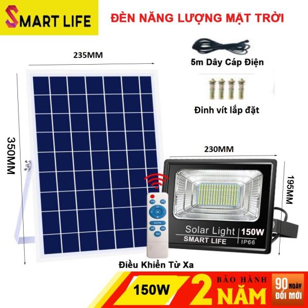 Đèn LED Năng Lượng Mặt Trời 150w  100w  SMART LIFE Cảm Biến Ánh Sáng tự động bật sáng khi trời tối, và tắt đèn khi trời sáng
