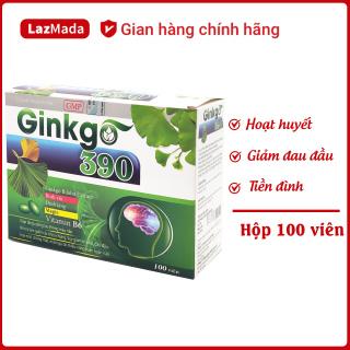 Viên uống Ginkgo 390 Green - Thành phần Ginkgo Biloba kết hợp tỏi đen, đinh lăng, các loại thảo dược tự nhiên - Giúp hoạt huyết dưỡng não, giảm chóng mặt đau đầu, mất ngủ, tiền đình - Hộp 100 viên đạt chuẩn GMP thumbnail