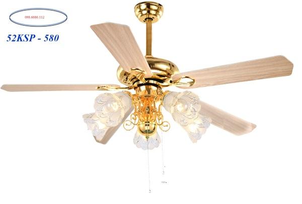 Quạt trần cánh gỗ - Có đèn trang trí - Quạt chạy êm - Dùng cho bốn mùa tại Việt Nam