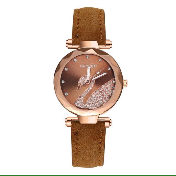 Nơi bán Đồng hồ nữ dây da, mặt tròn khảm thiên nga thiết kế thời trang, phong cách OURSTAR OS01