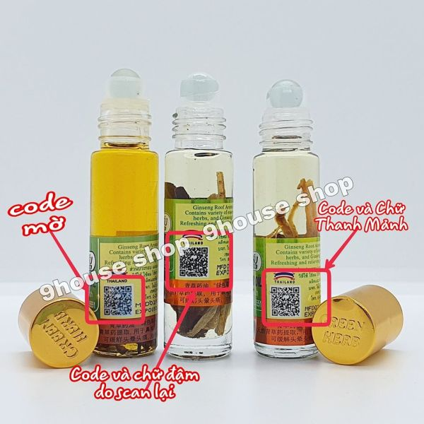 Lốc 12 Dầu Nhân Sâm Ginseng Green Herb Oil Thái Lan - 8ml x12 chai