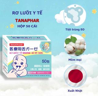 Rơ Lưỡi - Gạc Tưa Lưỡi - Gạc rơ lưỡi Tanaphar trẻ em y tế tiệt trùng chất liệu mềm mại - vệ sinh lưỡi, răng, miệng trẻ sơ sinh - Hộp 50 cái thumbnail