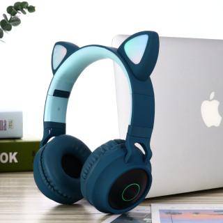 Tai Nghe Bluetooth 5.0 Với Tai Mèo, Tai Nghe Stereo Không Dây Đeo Ngoài Tai, Có Thể Gập Lại, Khả Năng Tương Thích Rộng, Thời Gian Chờ Lâu, Đèn 3 Màu Chuyển Sắc Với Micro thumbnail