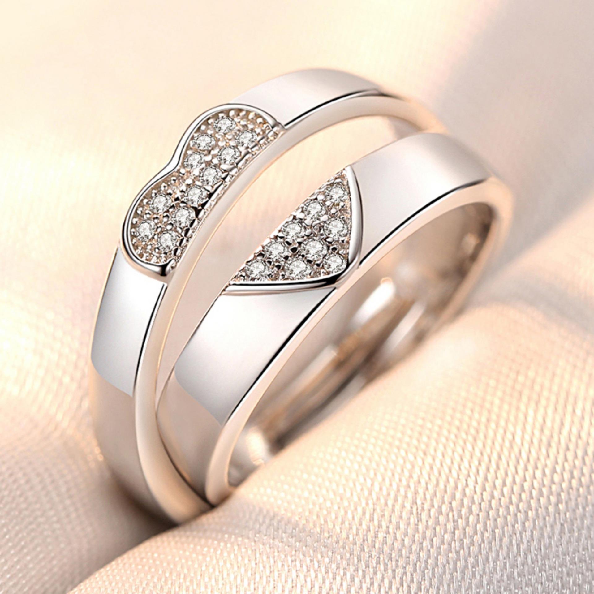 Nhẫn đôi Tình Yêu đính Hột đá Zircon Xinh Xắn Thời Trang Hàn Quốc Sang Trọng Dễ Thương Có Giá Cực Tốt
