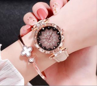 [CÓ VIDEO] Đồng hồ nữ dây da mặt hoa viền đính đá kim sa chính hiệu CVTR, tặng hộp và pin dự phòng, bảo hành 2 năm thumbnail