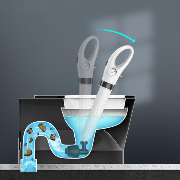 Dụng cụ thông tắc bồn cầu nhà vệ sinh, bồn rửa chén chuyên nghiệp - thông tắc cầu cống bằng khí nén hiệu quả với khớp quay 360 độ