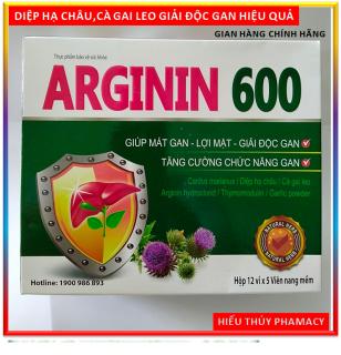 Viên uống Bổ Gan ,mát gan ARGININ600 - Cà gai leo, actiso, tỏi đen, diệp hạ châu - giúp giải độc gan, lợi mật hiệu quả - Hộp 60 viên chuẩn GMP Bộ Y tế thumbnail