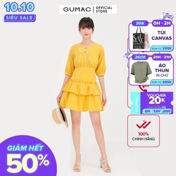 Nơi bán Đầm nữ  tay lỡ nhún tùng  DB745 mẫu mới GUMAC