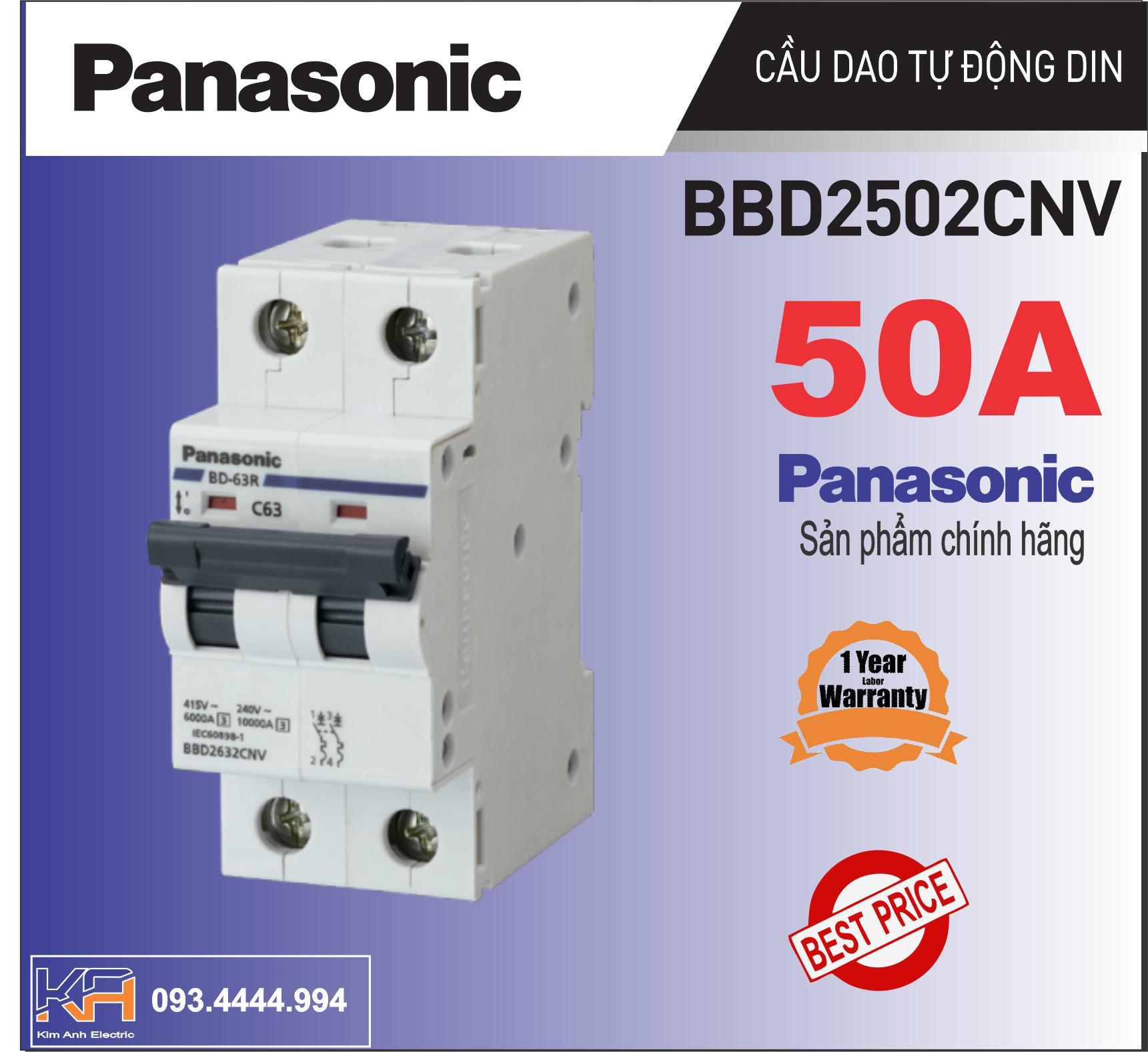 CB tép, Cầu dao tự động MCB 2P ngắn mạch quá tải  bảo vệ thiết bị 50A  Panasonic