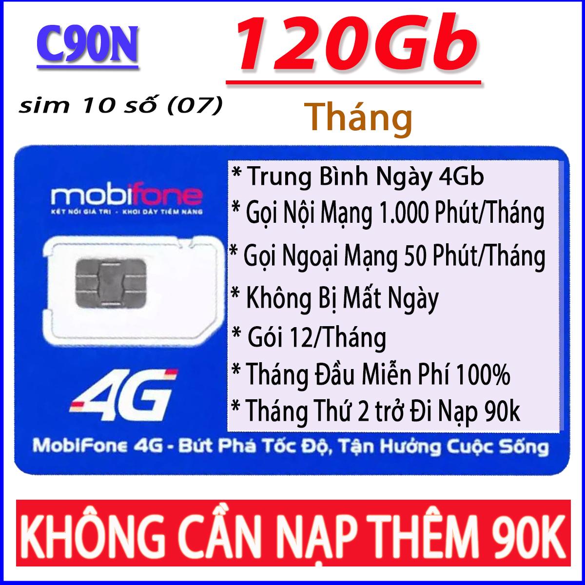 SIM 4G Mobifone C90N   10 Số (07) Tặng 120Gb + 1.000 Phút Nội Mạng + 50 Phút Ngoại Mạng Đang Khuyến Mãi