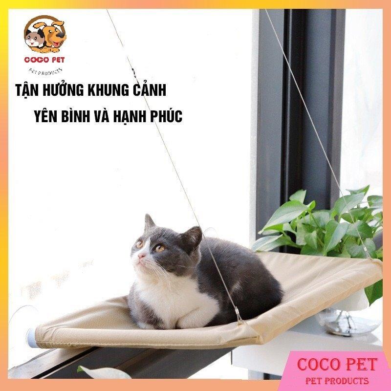 Giường/ võng treo gắn cửa sổ cho mèo nằm chơi và thư giãn