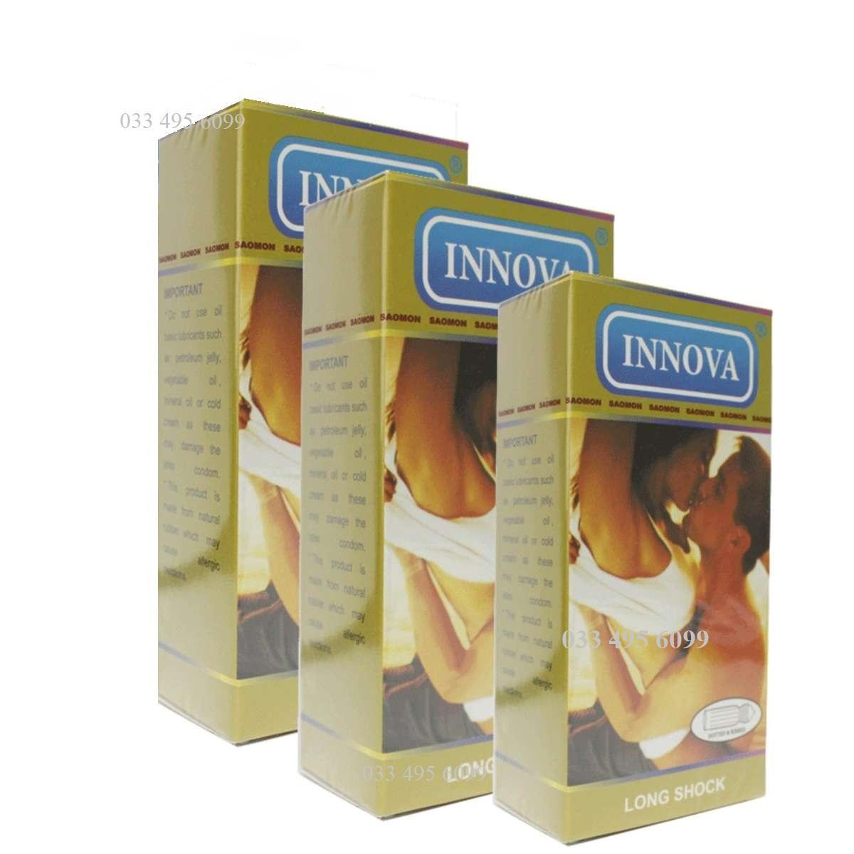 Bộ 3 hộp Bao cao su gân gai kéo dài thời gian INNOVA vàng hộp 12 chiếc nhập khẩu