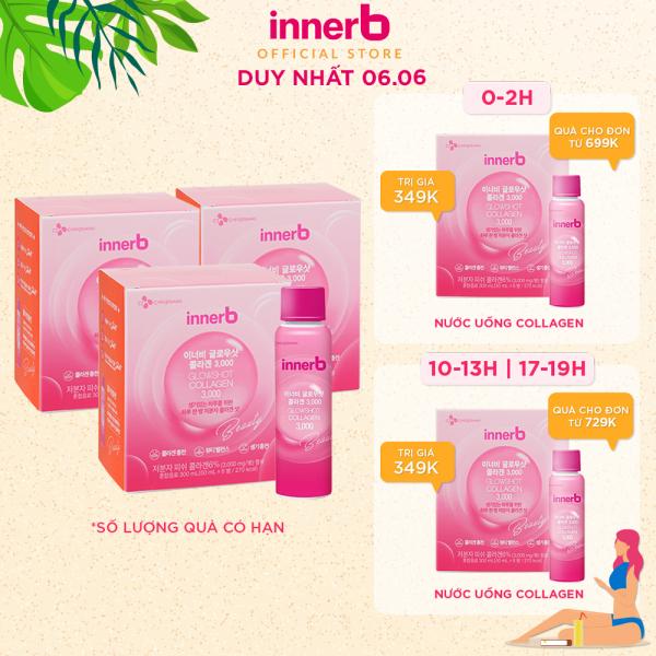Bộ 3 hộp nước uống Collagen Vitamin C sáng da InnerB Glowshot (50mlx6)