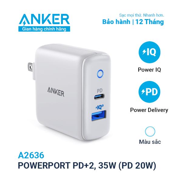 Sạc ANKER PowerPort PD+2 cổng 35w, 1 USB-C PD 20w, 1 PowerIQ 2.0 15w - A2636