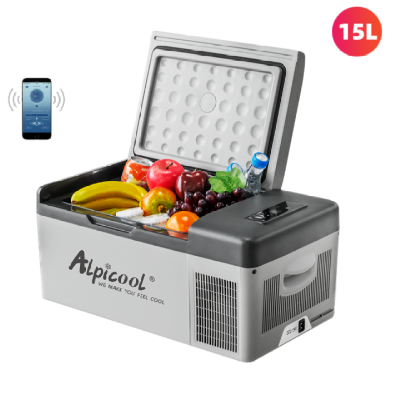 Tủ lạnh mini dùng trong nhà và trên ô tô nhãn hiệu Alpicool C15 công suất 40W dung tích 15 Lít