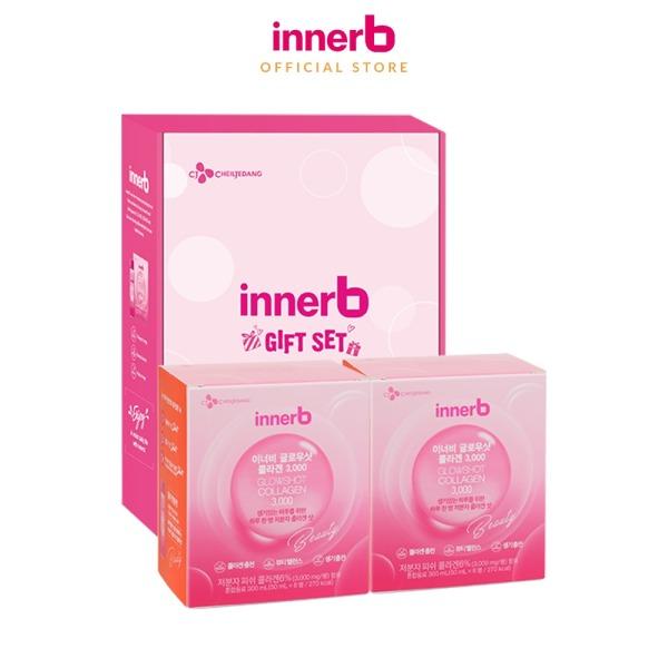 Hộp box gift Bộ 2 Hộp 6 chai nước uống Collagen Vitamin C sáng da InnerB Glowshot (50mlx6)