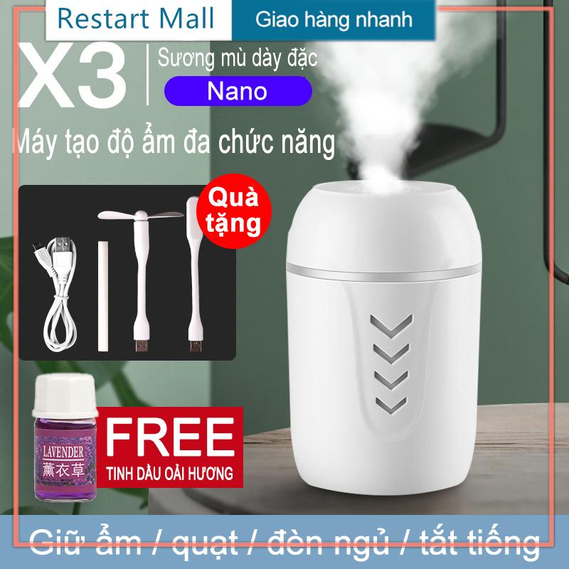 【Restart Mall】 (tinh dầu miễn phí) Bộ phun 3 trong 1 cho máy lọc không khí ô tô gia đình, bộ lọc dầu (máy tạo độ ẩm / quạt USB / đèn USB / cáp sạc / tăm bông)