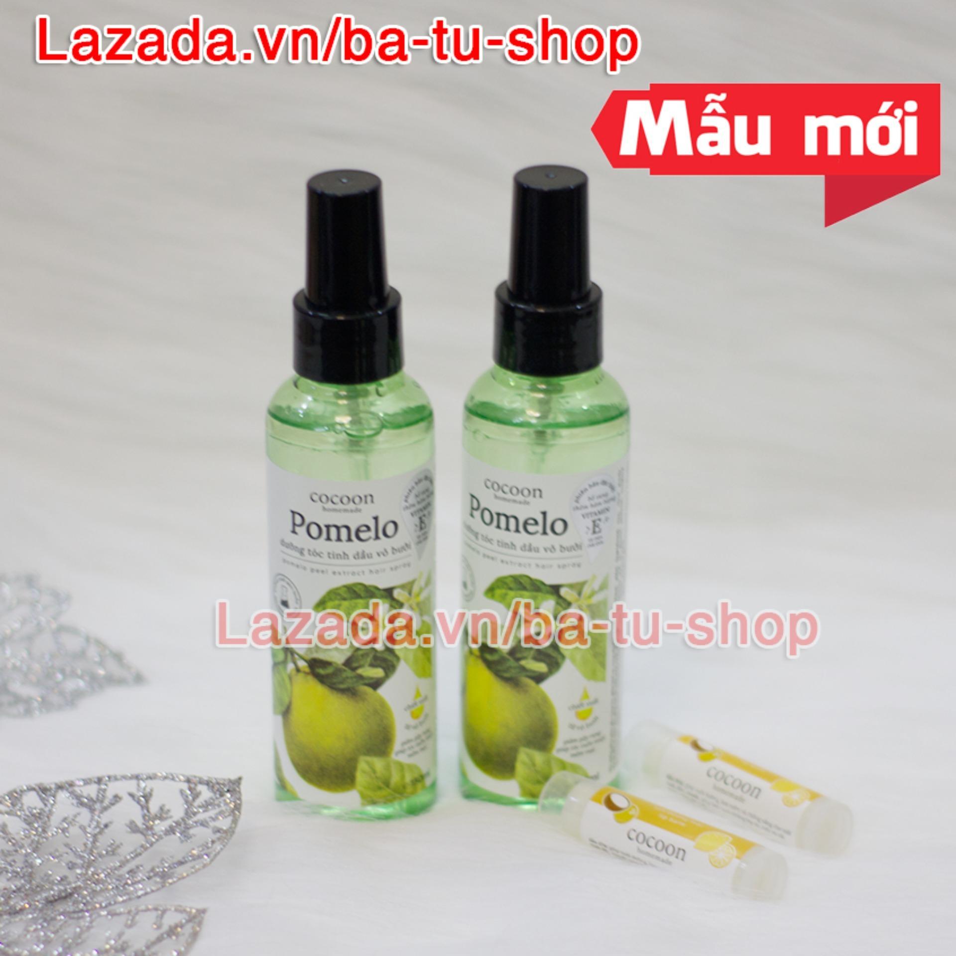Bộ 2 Chai (TẶNG 2 SON) Xịt Tinh Dầu Bưởi Pomelo Ngăn rụng tóc giúp tóc dài và dày hơn 130ml x 2
