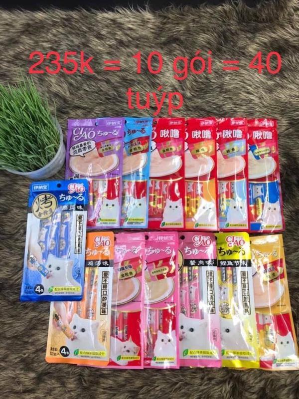 Combo 10 gói Ciao Churu - snack/ bánh thưởng cho mèo dạng kem soup ( 4X12gr)