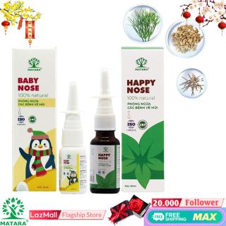 Matara - [COMBO GIA ĐÌNH] - Xịt mũi Happy Nose, Baby Nose Phòng ngừa bệnh xâm nhập qua hô hấp Cho Cả Gia Đình - Nguồn Gốc Thảo Dược tự nhiên, Xịt Mũi Viêm Xoang, Viêm Mũi Dị Ứng Hiệu Quả, An Toàn Đặc Biệt đối với Cho Trẻ Em thumbnail
