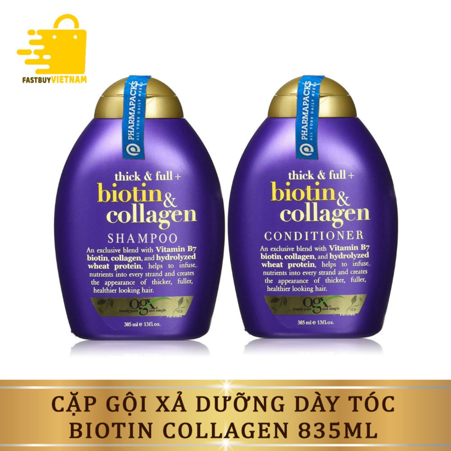 Bộ Dầu Gội Xả - Dầu Gội Cặp Dưỡng Dày Tóc Biotin Collagen 385ml