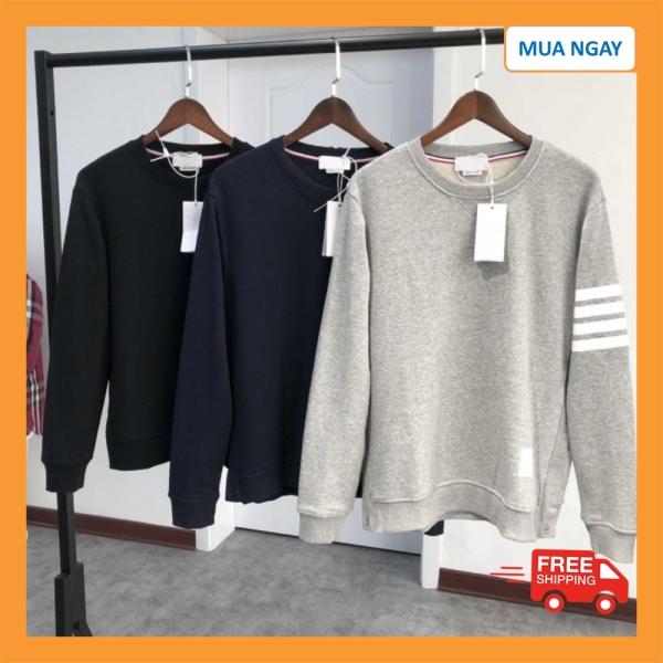 Áo nỉ sweater nam chất nỉ da ca form rộng phong cách hàn quốc HD Buy Store - Áo Sweater nam nữ cổ tròn phối vạch cánh tay