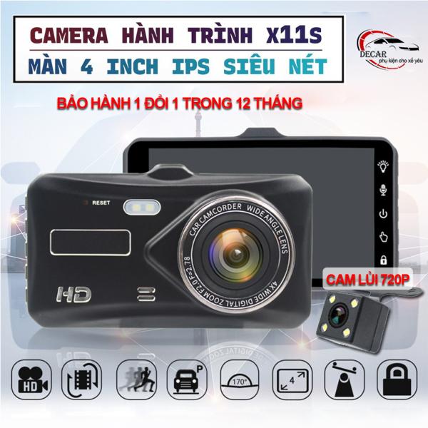 Camera hành trình ô tô màn hình cảm ứng 4 inch full HD 1080, tích hợp camera lùi 720 lắp oto, xe hơi sắc nét , Camera hành trình hỗ trợ quay đêm cực nét X11S
