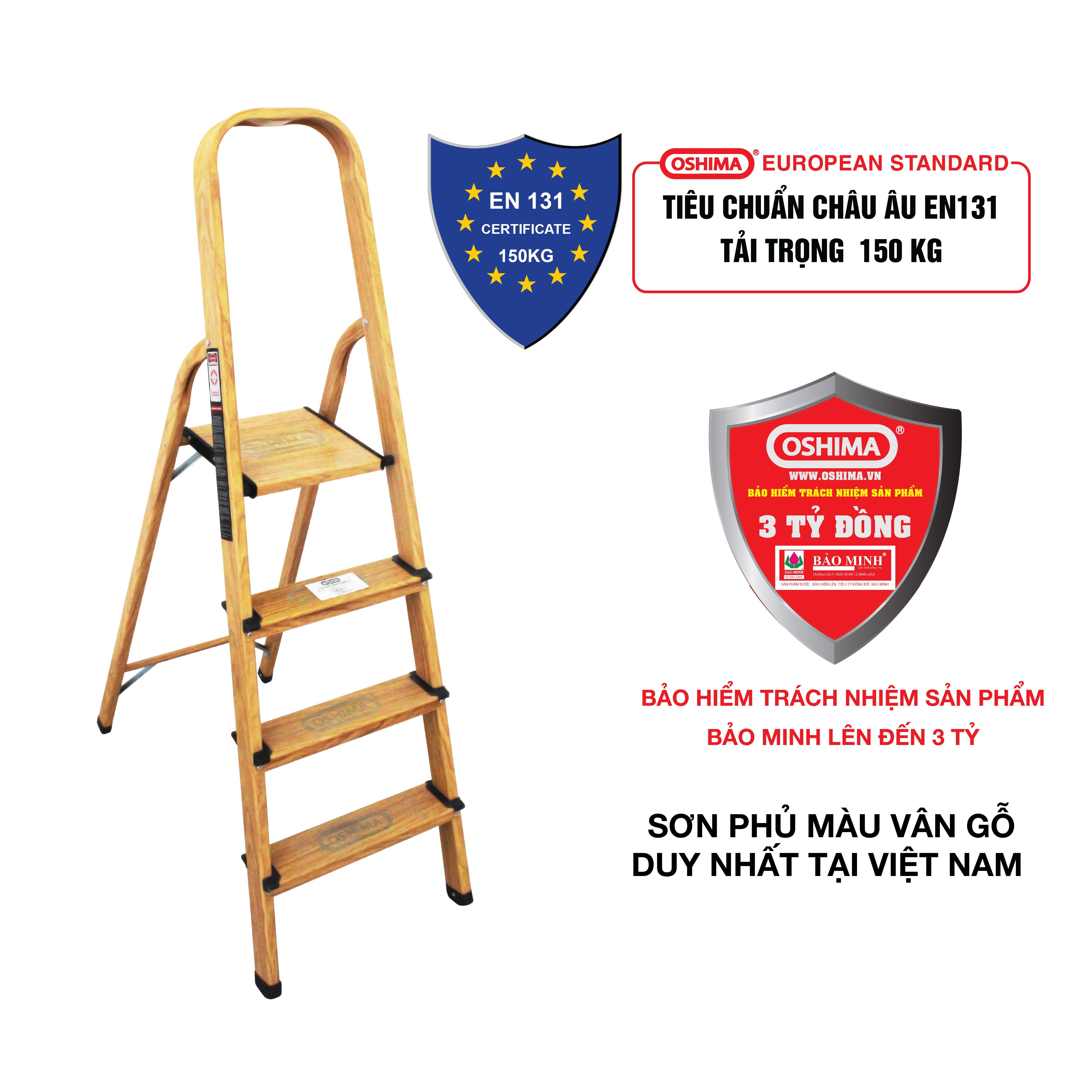 Thang nhôm ghế 4 bậc Oshima TG4 – Thang nhôm gia đình - Bảo hiểm trách nhiệm chất lượng sản phẩm Bảo minh lên đến 3 tỷ đồng - Bảo hành 12 tháng