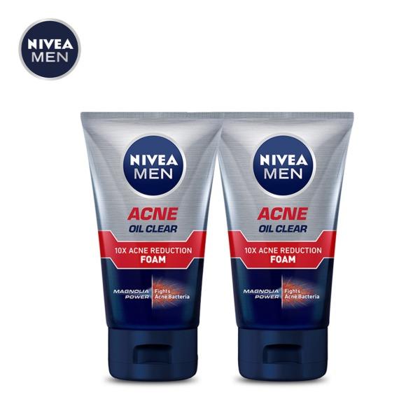 Combo 2 Sữa rửa mặt nam ngăn ngừa mụn tối ưu Nivea Men 10X Acne Clear Face Wash 100g cao cấp