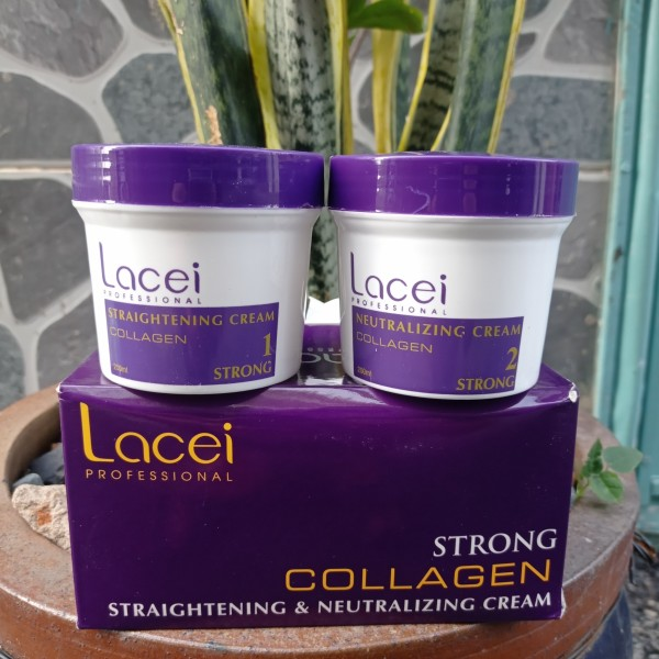 Kem duỗi tóc KHÔNG KẸP NHIỆT bóng mượt dùng cá nhân tại nhà Collagen Lacei 200mlx2 giá rẻ