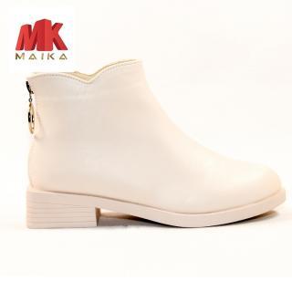 Boot Nữ Đế Bằng Cao 3cm Cổ Ngắn S127 Kem thời trang cá tính êm chân MK STORE