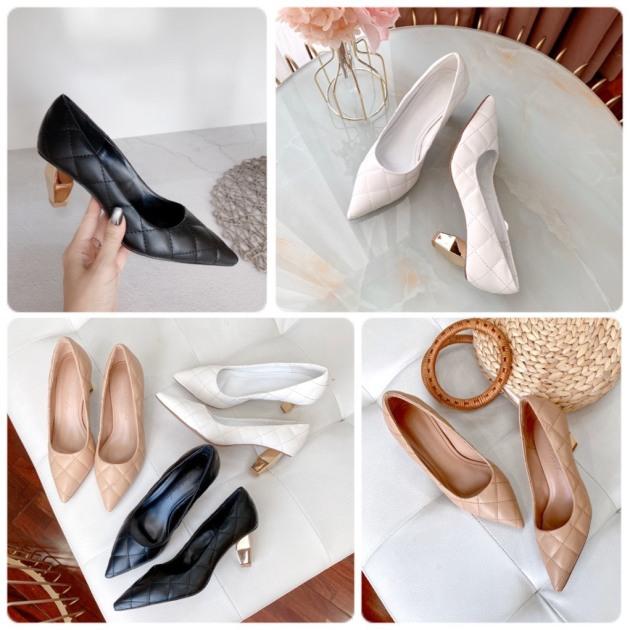 Giày  Cao gót da chần chỉ 6P giá rẻ
