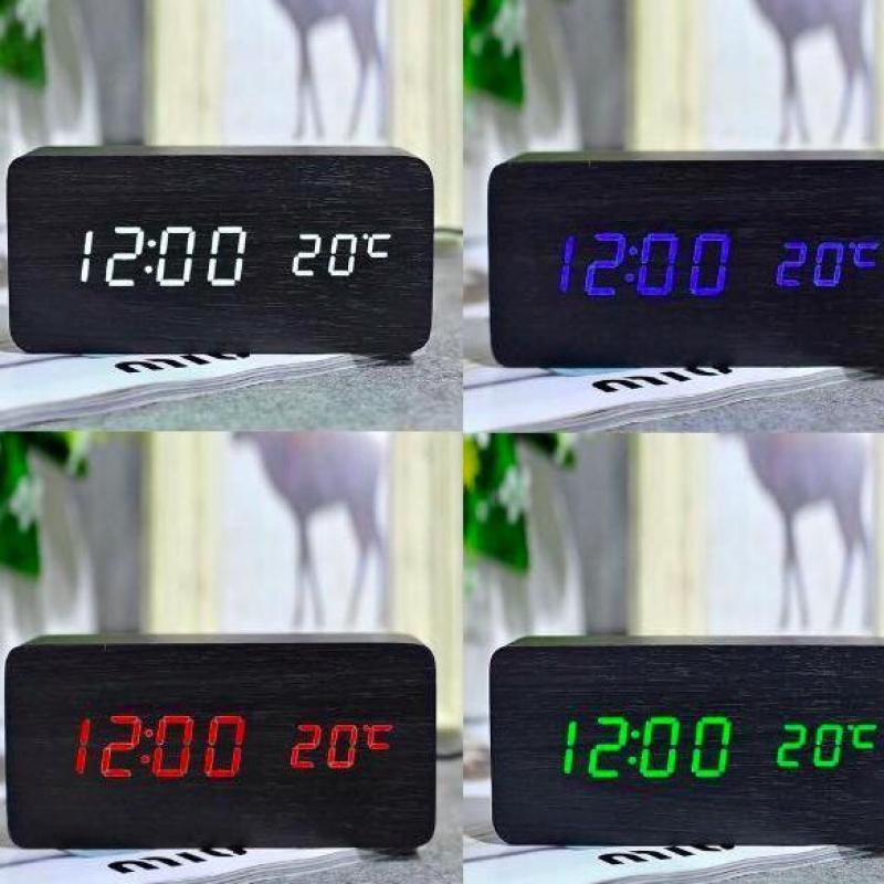 [FREE 4 PIN ] Đồng Hồ Để bàn bằng gỗ - LED - Kiêm Báo Thức & Nhiệt Kế DH003 bán chạy