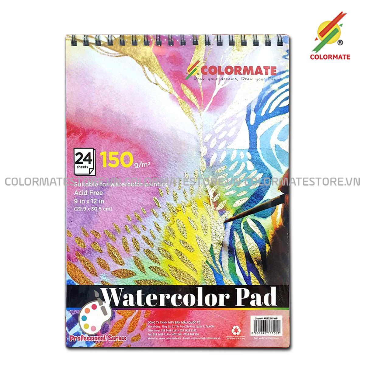Tập Giấy Vẽ Watercolor Pad A4 Định Lượng 150GMS 24 Tờ Bất Ngờ Giảm Giá