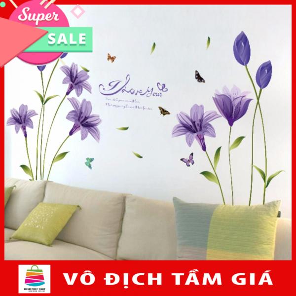 [HCM]Decal dán tường HOA LILY TÍM-SK9122B-flowerdecal